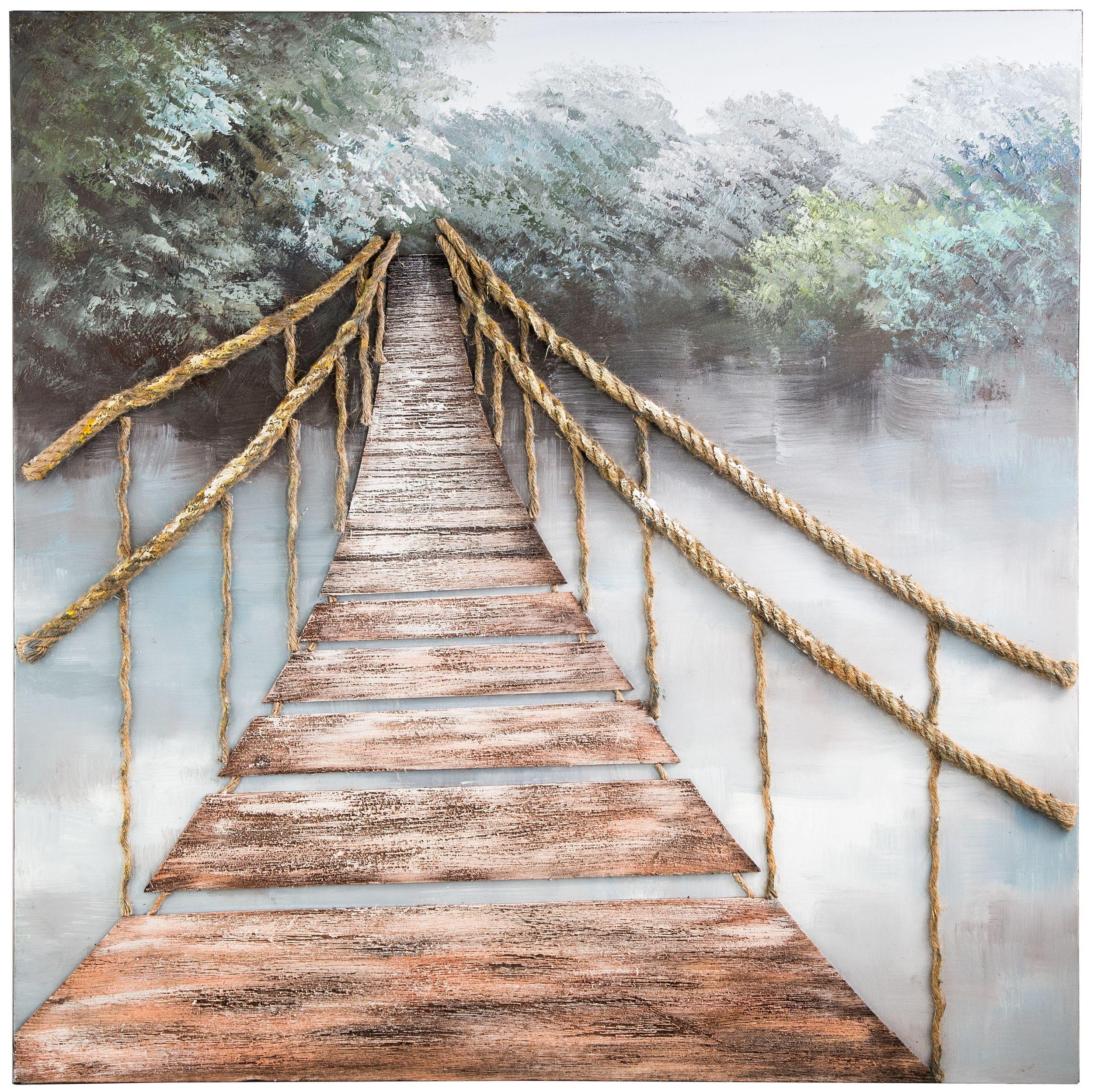 Leinwandbild 100x100cm ORIGINAL RIMBO, ROPE BRIDGE